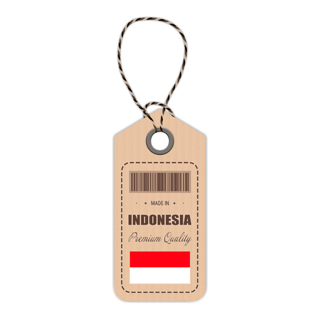 Hang Tag Made In Indonesia With Flag Icon Isolated On A White Background. Vector Illustration. Made In Badge. Business Concept. Buy products made in Indonesia. Use For Brochures, Printed Materials, Logos, Independence Day