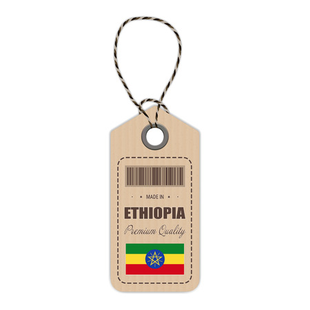 Hang Tag Made In Ethiopia With Flag Icon Isolated On A White Background. Vector Illustration. Made In Badge. Business Concept. Buy products made in Ethiopia. Use For Brochures, Printed Materials, Logos, Independence Day