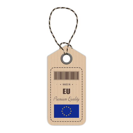Hang Tag Made In European Union With Flag Icon Isolated On A White Background. Vector Illustration. Made In Badge. Business Concept. Buy products made in European Union. Use For Brochures, Printed Materials, Logos, Independence Day
