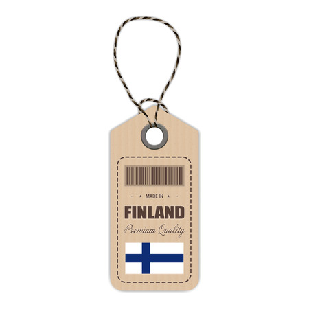 Hang Tag Made In Finland With Flag Icon Isolated On A White Background. Vector Illustration. Made In Badge. Business Concept. Buy products made in Finland. Use For Brochures, Printed Materials, Logos, Independence Day