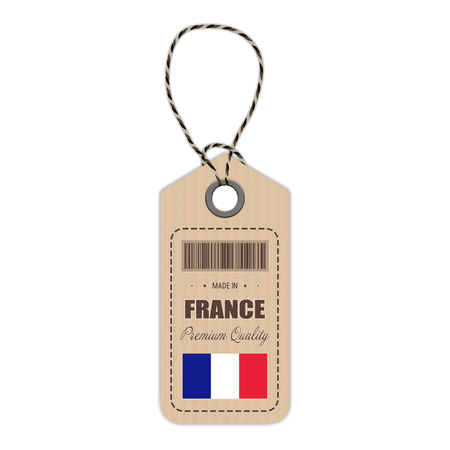 Hang Tag Made In France With Flag Icon Isolated On A White Background. Vector Illustration. Made In Badge. Business Concept. Buy products made in France. Use For Brochures, Printed Materials, Logos, Independence Day Illustration