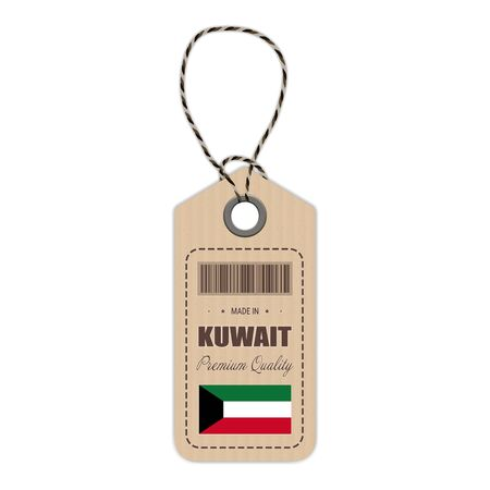 Hang Tag Made In Kuwait With Flag Icon Isolated On A White Background. Vector Illustration. Made In Badge. Business Concept. Buy products made in Kuwait. Use For Brochures, Printed Materials, Logos, Independence Day Illustration