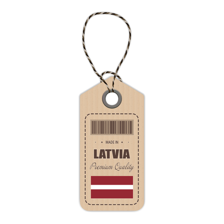 Hang Tag Made In Latvia With Flag Icon Isolated On A White Background. Vector Illustration. Made In Badge. Business Concept. Buy products made in Latvia. Use For Brochures, Printed Materials, Logos, Independence Day