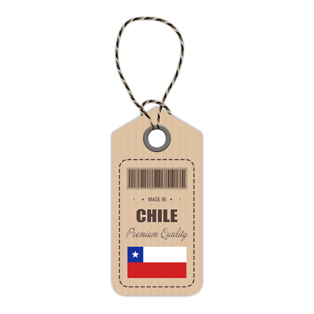 bandera chilena: Hang Tag Made In Chile With Flag Icon Vector Illustration. Made In Badge. Business Concept. Buy products made in Chile. Use For Brochures, Printed Materials, Logos, Independence Day