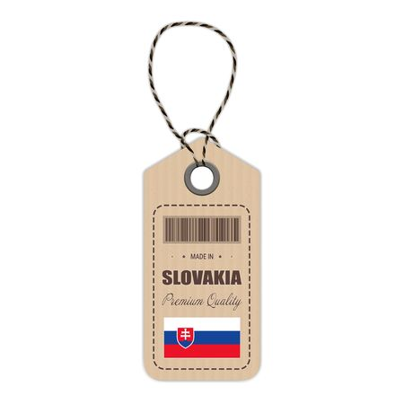 Hang Tag Made In Slovakia With Flag Icon Isolated On A White Background. Vector Illustration. Made In Badge. Business Concept. Buy products made in Slovakia. Use For Brochures, Printed Materials, Logos, Independence Day