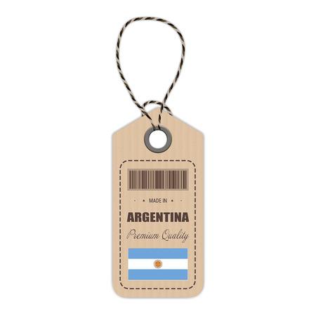 Etiqueta colgante hecha en Argentina con el icono de la bandera aislado en un fondo blanco. Ilustración vectorial Hecho en placa. Concepto de negocio. Compre productos fabricados en Argentina. Uso para folletos, materiales impresos, logotipos, día de la independencia