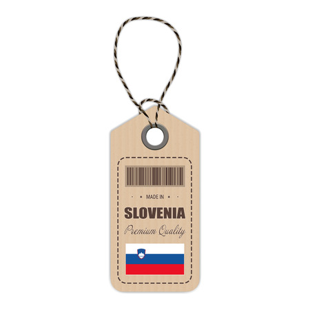 Hang Tag Made In Slovenia With Flag Icon Isolated On A White Background. Vector Illustration. Made In Badge. Business Concept. Buy products made in Slovenia. Use For Brochures, Printed Materials, Logos, Independence Day