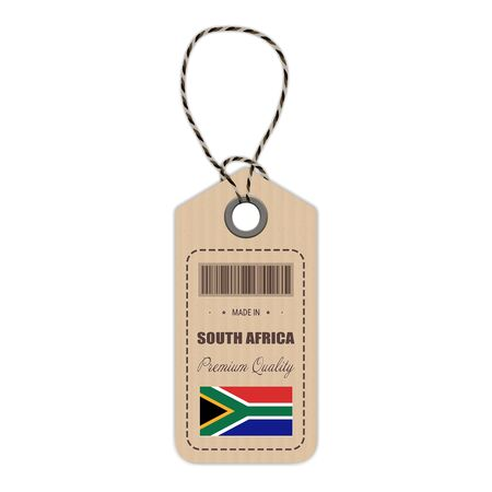 Hang Tag Made In South Africa With Flag Icon Isolated On A White Background. Vector Illustration. Made In Badge. Business Concept. Buy products made in South Africa. Use For Brochures, Printed Materials, Logos, Independence Day Illustration