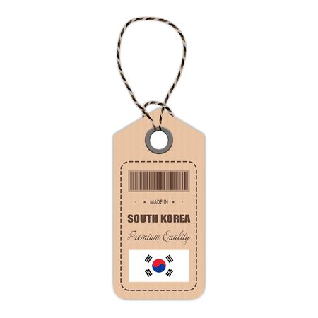 Hang Tag Made In South Korea With Flag Icon Isolated On A White Background. Vector Illustration. Made In Badge. Business Concept. Buy products made in South Korea. Use For Brochures, Printed Materials, Logos, Independence Day