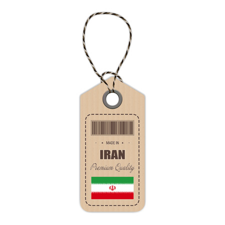 Hang Tag Made In Iran With Flag Icon Isolated On A White Background. Vector Illustration. Made In Badge. Business Concept. Buy products made in Iran. Use For Brochures, Printed Materials, Logos, Independence Day