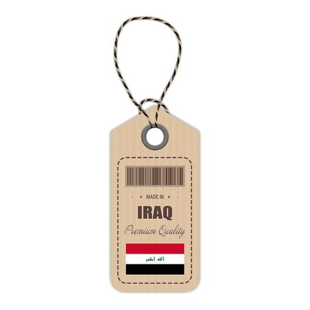 Hang Tag Made In Iraq With Flag Icon Isolated On A White Background.