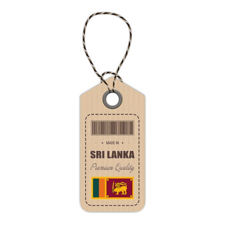 srilanka: Hang Tag Made In Sri Lanka With Flag Icon Isolated On A White Background. Vector Illustration. Made In Badge. Business Concept. Buy products made in Sri Lanka. Use For Brochures, Printed Materials, Logos, Independence Day