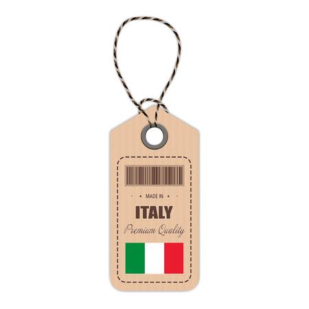 Hang Tag Gemaakt In Italië Met Vlagpictogram Geïsoleerd Op Een Witte Achtergrond.