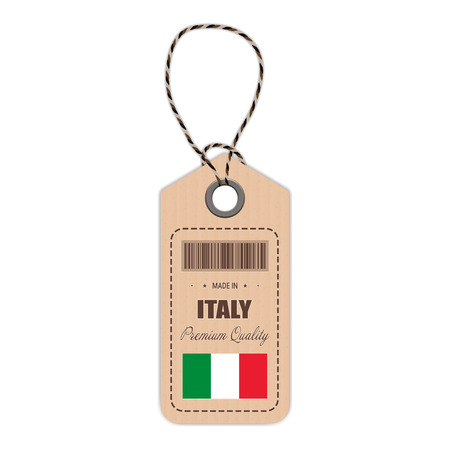 Hang Tag Made In Italy With Flag Icon Isolated On A White Background.