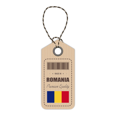 Hang Tag Made In Romania With Flag Icon Isolated On A White Background.