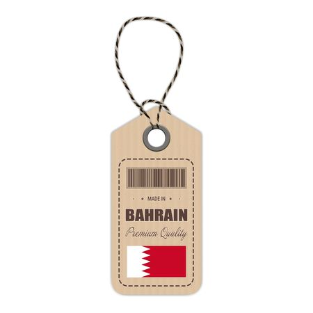 Hang Tag Made In Bahrain With Flag Icon Isolated On A White Background. Vector Illustration. Made In Badge. Business Concept. Buy products made in Bahrain. Use For Brochures, Printed Materials, Logos, Independence Day