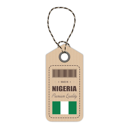 Hang Tag Made In Nigeria With Flag Icon Isolated On A White Background. Vector Illustration. Made In Badge. Business Concept. Buy products made in Nigeria. Use For Brochures, Printed Materials, Logos, Independence Day Illustration