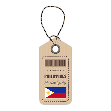 Hang Tag Made In Philippines With Flag Icon Isolated On A White Background. Vector Illustration. Made In Badge. Business Concept. Buy products made in Philippines. Use For Brochures, Printed Materials, Logos, Independence Day