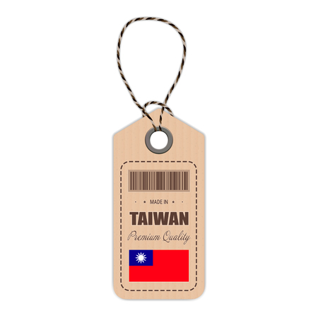 Taiwan flag hang tag design. Illustration