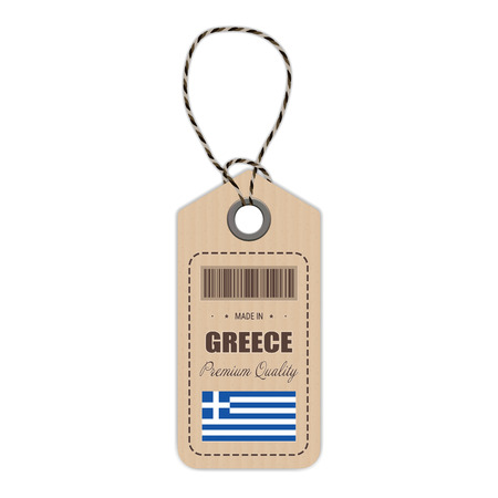 Hang Tag Made In Greece With Flag Icon Isolated On A White Background. Vector Illustration. Made In Badge. Business Concept. Buy products made in Greece. Use For Brochures, Printed Materials, Logos, Independence Day Illustration