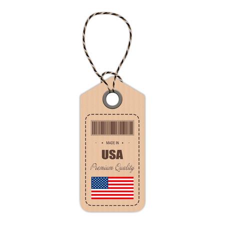 made to order: USA flag hang tag design.