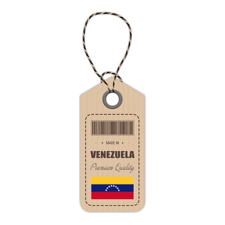 bandera de paraguay: Hang Tag Made In Venezuela With Flag Icon Isolated On A White Background. Vector Illustration. Made In Badge. Business Concept. Buy products made in Venezuela. Use For Brochures, Printed Materials, Logos, Independence Day Vectores