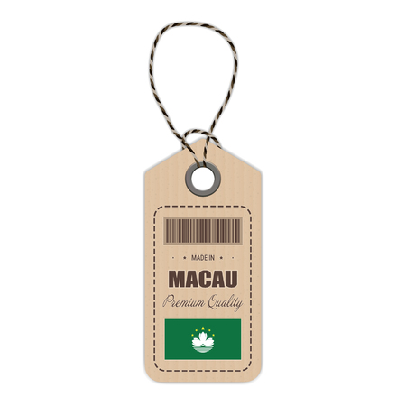 macau: Hang Tag Made In Macau With Flag Icon Isolated On A White Background. Vector Illustration. Made In Badge. Business Concept. Buy products made in Macau. Use For Brochures, Printed Materials