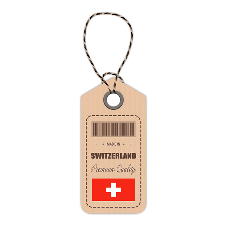 Hang Tag Made In Switzerland With Flag Icon Isolated On A White Background. Vector Illustration. Made In Badge. Business Concept. Buy products made in Switzerland. Use For Brochures, Printed Material Illustration