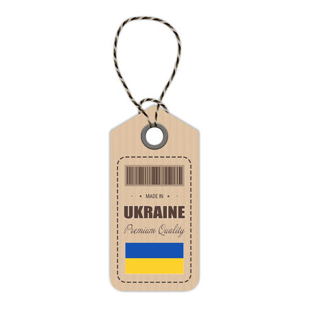 Hang Tag Made In Ukraine With Flag Icon Isolated On A White Background. Vector Illustration. Made In Badge. Business Concept. Buy products made in Ukraine. Use For Brochures, Printed Materials Illustration