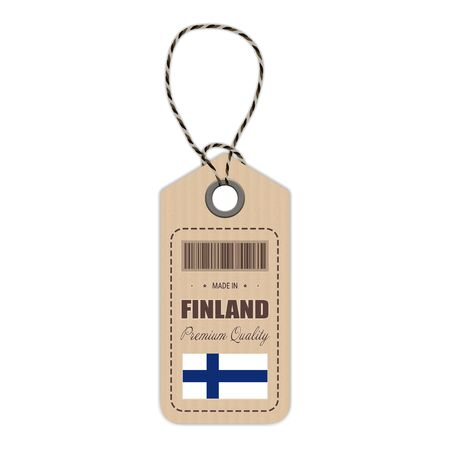 Hang Tag Made In Finland With Flag Icon Isolated On A White Background.