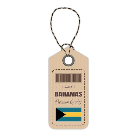 Hang Tag Made In Bahamas With Flag Icon Isolated On A White Background.