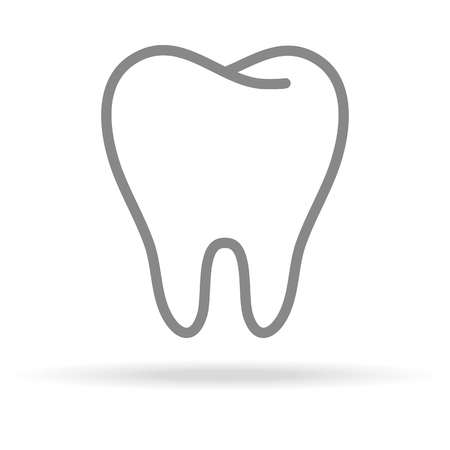 Human Tooth, Stomatology Icon In Trendy Thin Line Style Isolated On White Background. Medical Symbol For Your Design, Apps, Logo, UI. Vector Illustration, Eps10.  イラスト・ベクター素材
