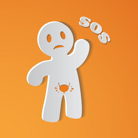 Sick Person Suffering From Bladder Ache With Placard with SOS, Illustration