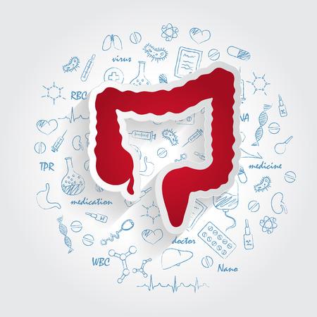 Icone Per Specialità Mediche. Enterologia e concetto di intestino. Illustrazione di vettore con il doodle disegnato a mano della medicina. Colon, cancro, ano, colonscopia, chirurgia, gastroenterologia, retto