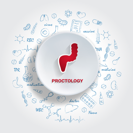 Icons For Medical Specialties. Proctology Concept. Vector Illustration With Hand Drawn Medicine Doodle. Rectum, Proctologist, Colon, Colonoscopy, Prostate Illustration