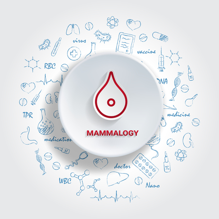 Icons For Medical Specialties. Mammalogy Concept. Vector Illustration With Hand Drawn Medicine Doodle. Oncology, Breast, Mammography, Cancer, Gynecology, Implant