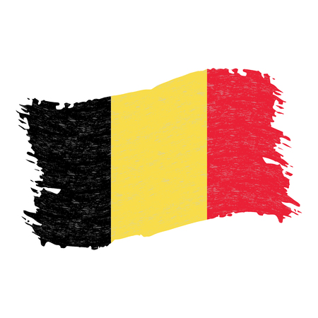 Flag of Belgium, Grunge Abstract Brush Stroke Isolated On A White Background. Vector Illustration. National Flag In Grungy Style. Use For Brochures, Printed Materials, Logos, Independence Day  イラスト・ベクター素材