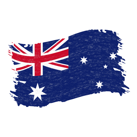 Flag of Australia, Grunge Abstract Brush Stroke Isolated On A White Background. Vector Illustration. National Flag In Grungy Style. Use For Brochures, Printed Materials, Logos, Independence Day Çizim