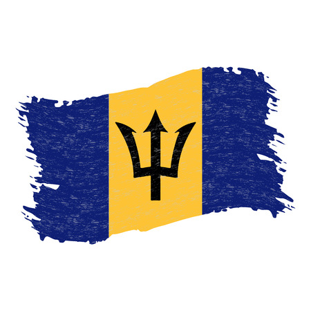 Flag of Barbados, Grunge Abstract Brush Stroke Isolated On A White Background. Vector Illustration. National Flag In Grungy Style. Use For Brochures, Printed Materials, Logos, Independence Day