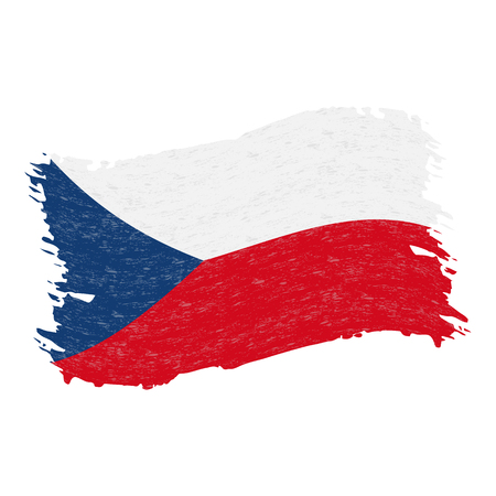 Flag of Czech Republic, Grunge Abstract Brush Stroke Isolated On A White Background. Vector Illustration. National Flag In Grungy Style. Use For Brochures, Printed Materials, Logos, Independence Day