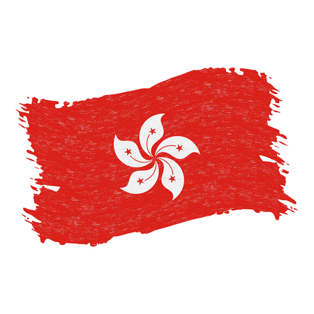 Flag of Hong Kong, Grunge Abstract Brush Stroke Isolated On A White Background. Vector Illustration. National Flag In Grungy Style. Use For Brochures, Printed Materials, Logos, Independence Day