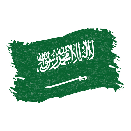 Flag of Saudi Arabia, Grunge Abstract Brush Stroke Isolated On A White Background. Vector Illustration. National Flag In Grungy Style. Use For Brochures, Printed Materials, Logos, Independence Day