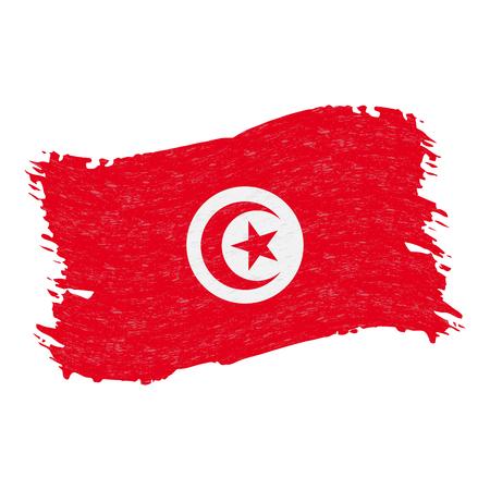 Drapeau de la Tunisie, coup de pinceau abstrait Grunge isolé sur fond blanc. Illustration vectorielle. Drapeau national dans un style grungy. Utilisation pour les brochures, les documents imprimés, les logos, le jour de l'indépendance