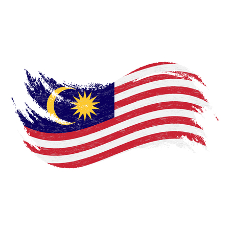 National Flag Of Malaysia, Designed Using Brush Strokes,Isolated On A White Background. Vector Illustration. Use For Brochures, Printed Materials, Logos, Independence Day.