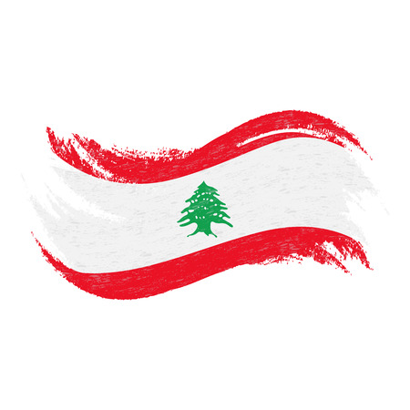 National Flag Of Lebanon, Designed Using Brush Strokes,Isolated On A White Background. Vector Illustration. Use For Brochures, Printed Materials, Logos, Independence Day.
