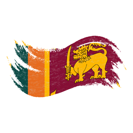 National Flag Of Sri Lanka, Designed Using Brush Strokes,Isolated On A White Background. Vector Illustration. Use For Brochures, Printed Materials, Logos, Independence Day.