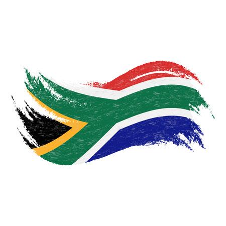 Nationalflagge von Südafrika, entworfen unter Verwendung von Pinselstrichen, lokalisiert auf einem weißen Hintergrund. Vektor-Illustration. Verwendung für Broschüren, Drucksachen, Logos, Unabhängigkeitstag.