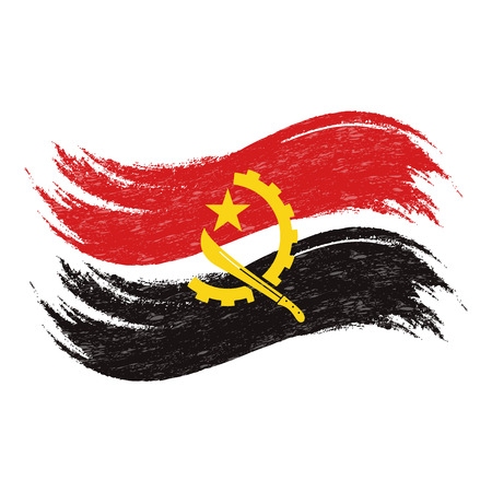 Grunge Brush Stroke With National Flag Of Angola Isolated On A White Background. Vector Illustration. Flag In Grungy Style. Use For Brochures, Printed Materials, Logos, Independence Day