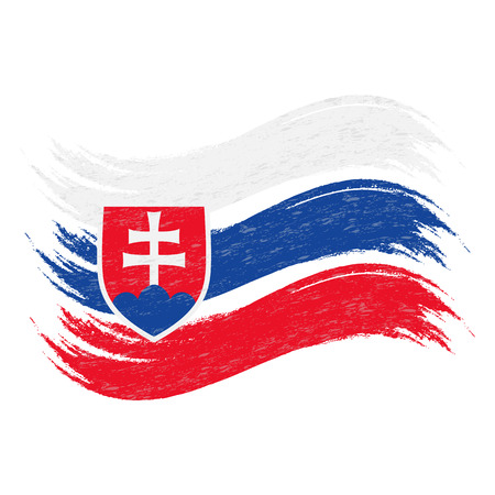 Grunge Brush Stroke With National Flag Of Slovakia Isolated On A White Background. Vector Illustration. Flag In Grungy Style. Use For Brochures, Printed Materials, Logos, Independence Day