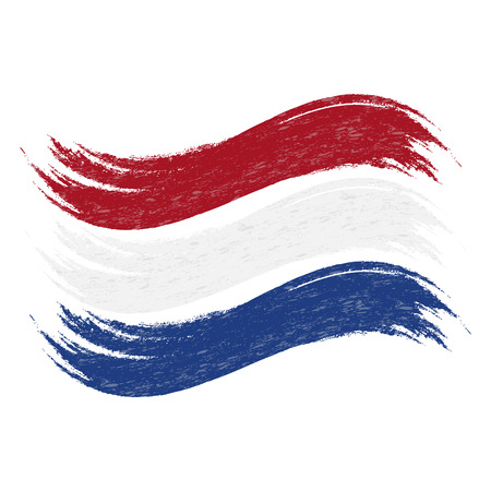 Grunge Brush Stroke With National Flag Of Netherlands Isolated On A White Background. Vector Illustration. Flag In Grungy Style. Use For Brochures, Printed Materials, Logos, Independence Day